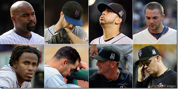 (Clockwise from top right) Delgado, Maine, Perez, Wright, Putz, Niese, Beltran and Reyes have all fallen victim to various maladies