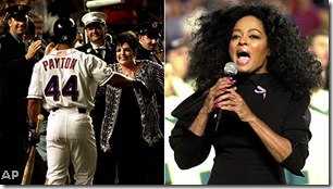 Liza and Payton; Diana Ross sings the anthem