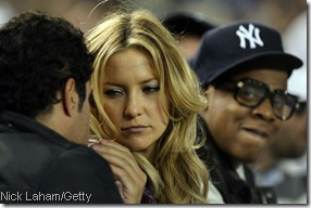 Has anyone yet figured out why the hell Kate Hudson was at a game with Jay-Z? Or why he insists on wearing glasses from the 1930's?
