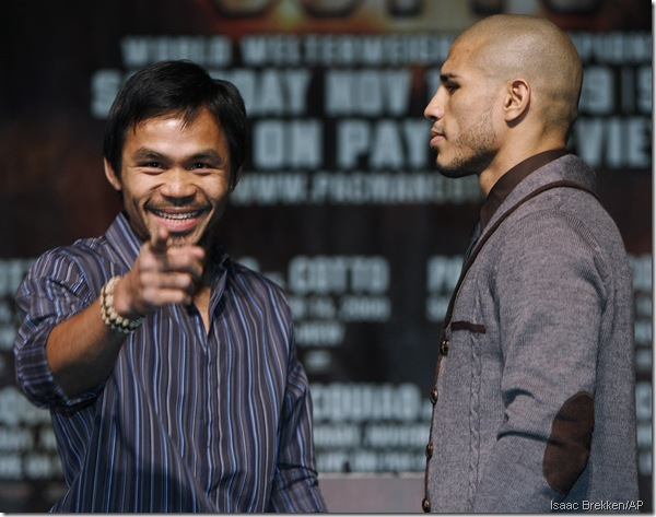 Telling: Pacquiao eyes the camera, Cotto eyes Pacquiao