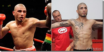 At left, Cotto vs. Clotty; at right, Cotto attempting to make 145