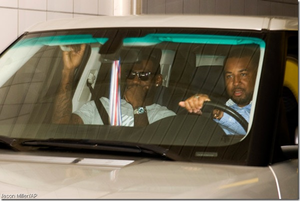 LeBron leaving meeting with the Knicks. Is that a gold medal hanging from his rearview? Most likely?