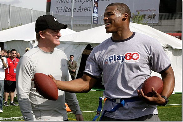 Is it me, or is Goodell in pretty good shape? (pause)