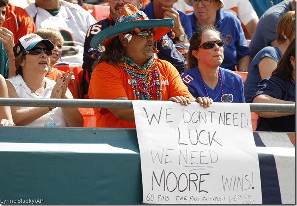 I get it! Because their QB is named Matt Moore.
